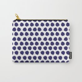 Navy Brush-Stroked Dots Carry-All Pouch