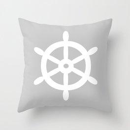 Ship Wheel (White & Gray) Throw Pillow