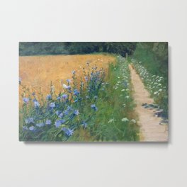 Early Morning, Tuscany, Italy floral landscape painting by Agnes Slott-Møller Metal Print