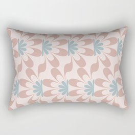 Mid Century Modern Abstract Flower Fan Pattern in Muted Blush Pink Teal Blue Rectangular Pillow