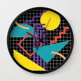 Memphis Pattern - 80s Retro Black Wall Clock