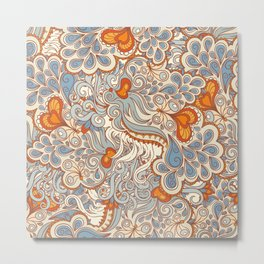 Orange and blue abstract pattern Metal Print