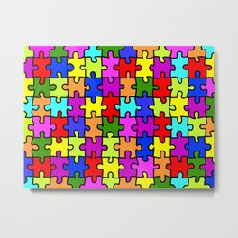 Colorful rainbow jigsaw puzzle pattern Metal Print