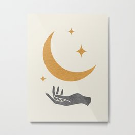 Moonlight Hand Metal Print