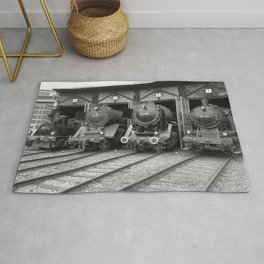 Old steam locomotive in the depot ZUG013CBx Le France black and white fine art photography by Ksavera Rug