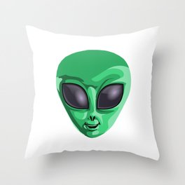 It's Not Easy Being Green UFO Extraterrestrial Space Throw Pillow