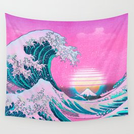 Vaporwave Aesthetic Great Wave Off Kanagawa Sunset Wall Tapestry