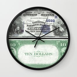 1882 U.S. Federal Reserve Ten Dollar Farmers Bank of Lake Geneva - Ben Franklin drawing electricity Wall Clock