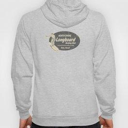 Club Surfing Longboard Logo and Hibiscus Hawaiian Print  Hoody