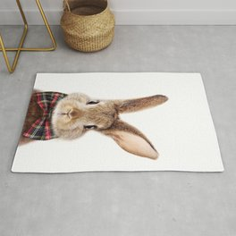 Baby Rabbit, Brown Bunny With Bow Tie, Baby Animals Art Print By Synplus Rug