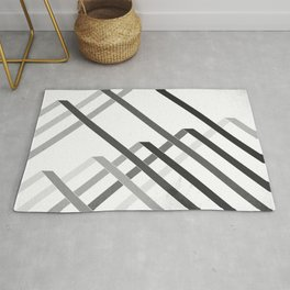Ribbons - Black and White Rug