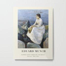 Vintage poster-Edvard Munch-Summer night, Inger on the beach. Metal Print