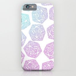 d20 pattern dice gradient pastel - icosahedron iPhone Case