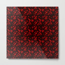 Geometric iridescent design with circles and red rectangles from stripes. Metal Print