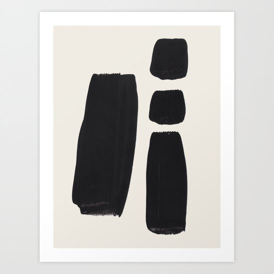 Mid Century Modern Minimalist Abstract Art Brush Strokes Black & White Ink Art Square Shapes by enshape