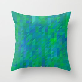 evelyn - bright emerald green and turquoise blue mosaic design Throw Pillow