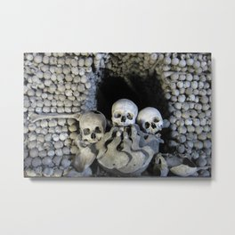 Ossuary (Bones and Skulls in the Cemetery Church of All Saints) Metal Print