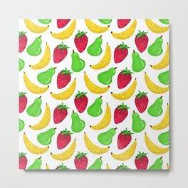 Fruit pattern // Strawberry Pear Banana explosion Metal Print