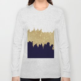 Modern navy blue white faux gold glitter brushstrokes Long Sleeve T-shirt