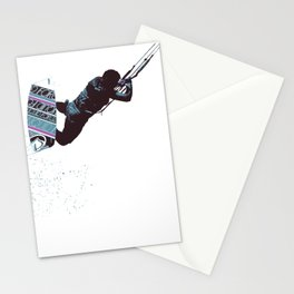 Kite And Surfboard Freestyle Silhouette Vector Stationery Cards