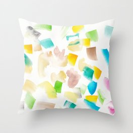 180719 Koh-I-Noor Watercolour Abstract 42| Watercolor Brush Strokes Throw Pillow
