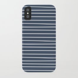Colorful Stripes, Aqua, Dark Navy Blue and White, Abstract Art iPhone Case