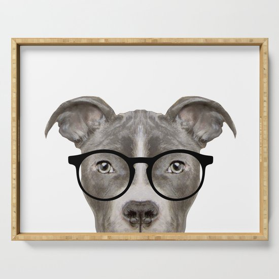 Pit bull with glasses Dog illustration original painting print by miartdesigncreation