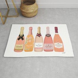 Rose Champagne Bottles Rug