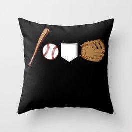 Baseball Bat Ball Pocket Gloves Throw Pillow