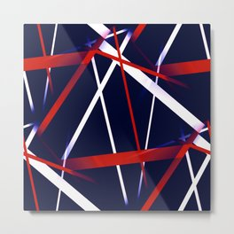 Seamless Red and White Stripes on A Blue Background Metal Print