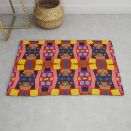 Multi Colored Vibrant Boxes Pattern Rug