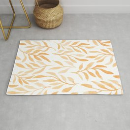 Golden Leaves // Simple Modern Watercolors Rug