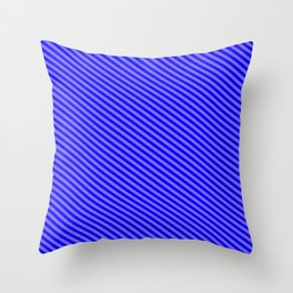 Medium Slate Blue & Blue Colored Stripes/Lines Pattern Throw Pillow
