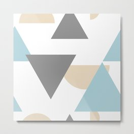 Abstract Teal, Gold and Black Geometric Pattern Metal Print