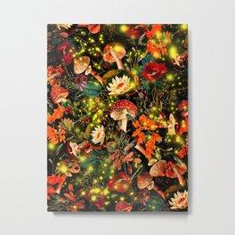 Night Garden and Fireflies Metal Print
