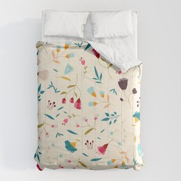 Colorful Tossed Summer Flowers Comforters