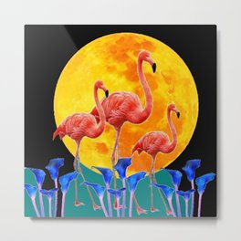 BLACK PINK FLAMINGOS FULL MOON BLUE LILIES Metal Print