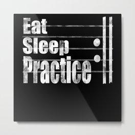Eat sleep exercises repeat funny music gift Metal Print