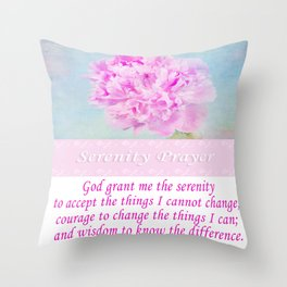 Serenity Prayer With Pink Peony Throw Pillow