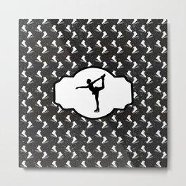 Figure Skater on  Digital Black Glitter Background With Figure Skates Metal Print