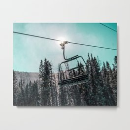 Empty Skilift // Dark Blue and Teal Snowboarding Dreaming of Winter Metal Print
