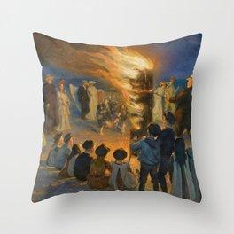 Midsummer's Eve Bonfire On Skagen's Beach - Digital Remastered Edition Throw Pillow