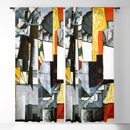 Desk And Room by Kazimir Malevich - Vintage Painting Blackout Curtain