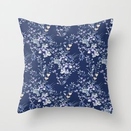 Chinoiserie Flowers Blue on Blue Throw Pillow