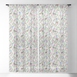 Clover Meadow Pattern - Neutral Sheer Curtain