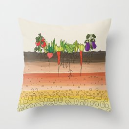 Earth soil layers vegetables garden cute educational illustration kitchen decor print Throw Pillow
