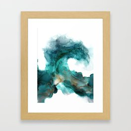Wild Wave - alcohol ink painting, abstract wave, fluid art, teal, gold colored accents Framed Art Print