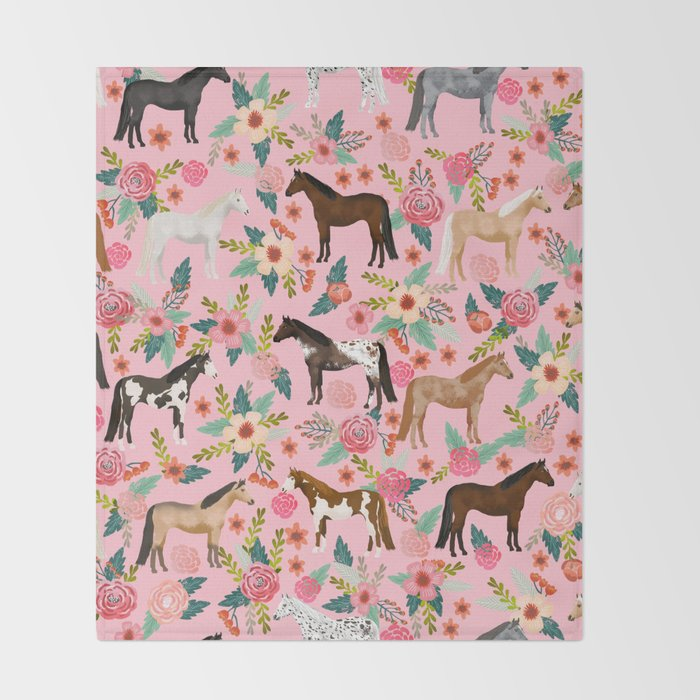 Horses floral horse breeds farm animal pets Throw Blanket