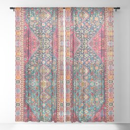 N131 - Heritage Oriental Vintage Traditional Moroccan Style Design Sheer Curtain