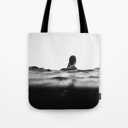 BLACK AND WHITE - OCEAN - WAVES - SEA - WATER - WOMAN Tote Bag
